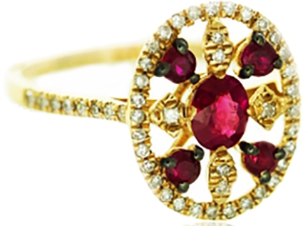 Rubies and Diamonds in Rose Gold